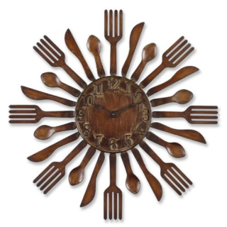 Eating utensil clock